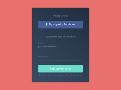 Daily UI challenge #001 — Sign Up social dark app challenge dailyui app screen form login modal sign up