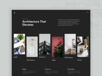 Rise Architecture - A versatile architecture firm architect architecture black dark layout services minimal clean design web design interface ux ui