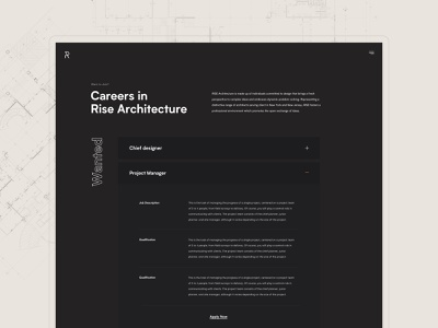 Rise Architecture - Careers firm architecture accordion tabs open positions careers page careers dark black layout minimal clean design web design interface ux ui