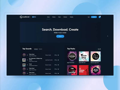 AudioVat – Music loops, packs & exclusive sounds genres sounds music player music dark layout minimal clean design web design interface ux ui
