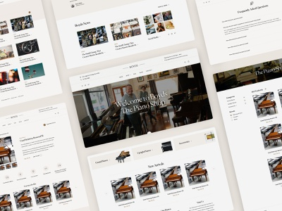 Boyds - The Piano Shop news navigation bar piano shop layout minimal clean design web design interface ux ui