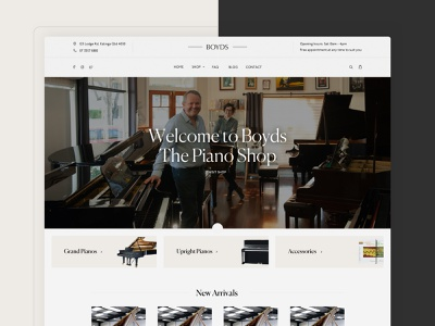 Boyds - The Piano Shop elegant navigation bar navigation piano layout minimal clean design web design interface ux ui