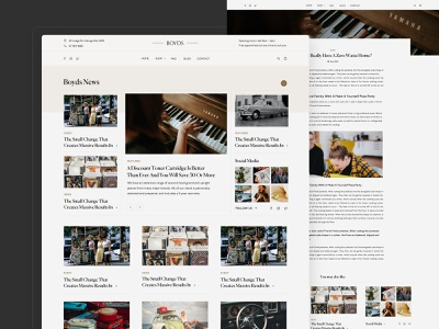 Boyds - The Piano Shop elegant retro layouts piano article blog layout minimal clean design web design interface ux ui