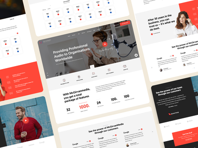 📢 McGirvanmedia Audio Solutions icons illlustration company features music red audio layout minimal web design interface ux ui