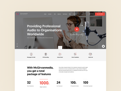 📢 McGirvanmedia Audio Solutions icons design icons set company music audio services red layout minimal clean design web design interface ux ui