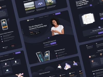 Website for Migraine Buddy - Migraine & Headache Tracking App intro home page mobile app dark ui layout illustration design healthcare interface health tracking design studio ux ui app website