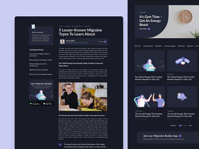 Blog and article - Migraine & Headache Tracking App Website healthcare health post design studio dark sidebar news article blog design web design interface ux ui