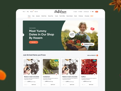 Fine food store - Website for Dattelmann layout products delicious nuts healthy shop e-commerce store food design web design ux interface ui website