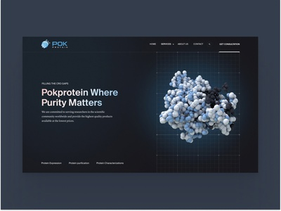Biotech website for contract research organisation crisp technology dna protein health medical biotech pharma pharmaceutical science animation blue minimal clean design web design ux interface ui