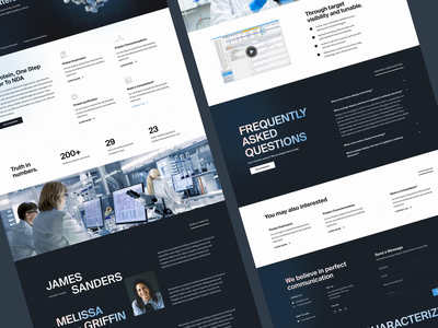 Biotech website for contract research organisation tech pharma medical blue crisp science protein dna health pharmaceutical technology minimal clean design web design ux interface ui