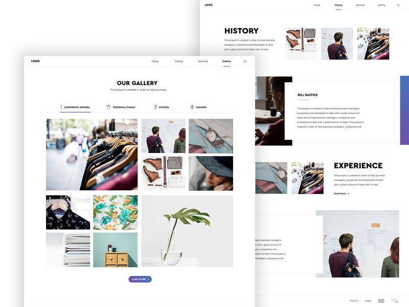Ecommerce website - Gallery and About us page minimal layout features about us gallery interface design ui