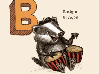 Badger playing bongos