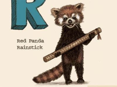 Red Panda playing a rainstick