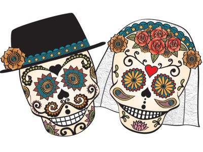 Illustration From Day Of The Dead Wedding Invite By Lynn Alpert