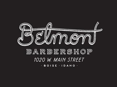 Belmont Barbershop T-Shirt Design graphic design idaho boise western hand drawn typography script rope