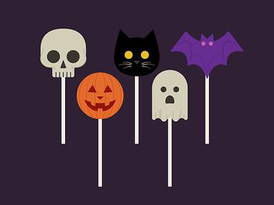 Halloween Pops graphic design chocolate design october illustration bat ghost cat pumpkin skull suckers lollipops candy halloween
