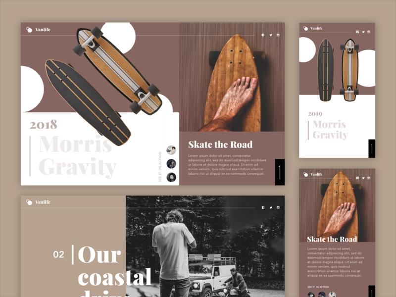 Van life Brand Blog sans serif sans typography interaction ui ux vanlife blog gallery product template brand skateboard motorcycle