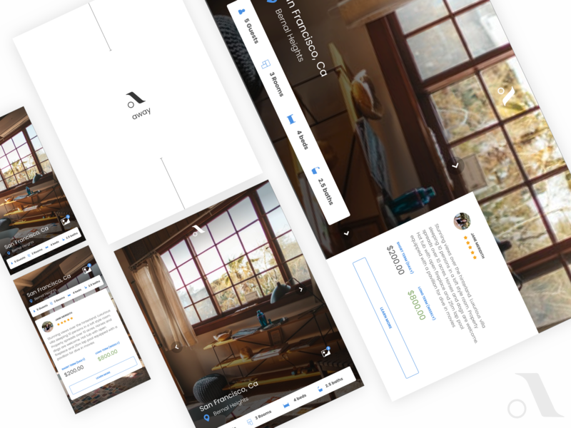 Away Template responsive inspiration product ux animation ui reserve review interaction concept home consumer app hotel