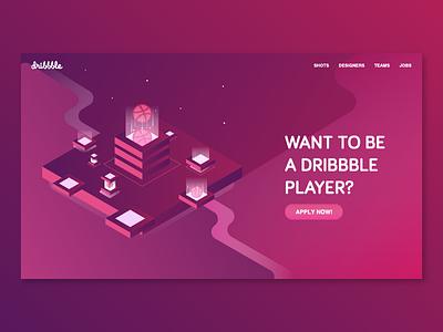 Dribbble Invite illustration 3d isometric invite dribbble web