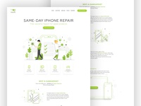 landing page for phone repair service