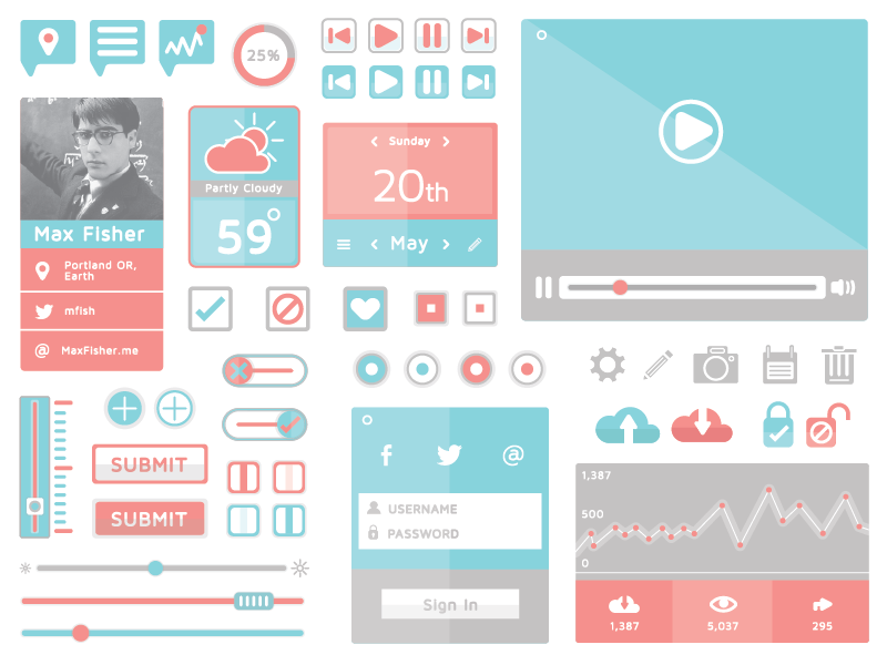 Flat Ui Kit  ui ux kit icon free freebie download illustration buttons video