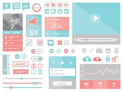 Flat Ui Kit  ui ux kit icon free freebie download illustration buttons video