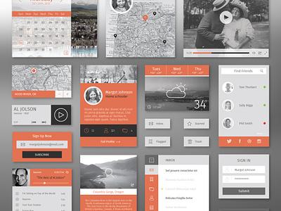 Flat Winter UI Kit ui flat kit free illustrator layout web design app profile map inbox