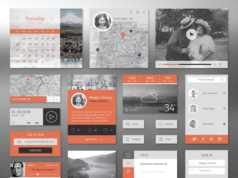 Flat Winter UI Kit ui flat kit free illustrator layout web design app profile map inbox