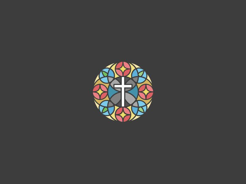Church logo mark 1 brand identity logo church cross star stained glass glass circle design badge