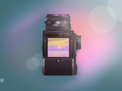 Hasselblad 501cm  gradient flare lens illustration skeuomorphic hasselblad icon camera