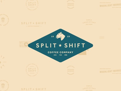 Split Shift Coffee Company Branding to go branding typography logomark logo lion lioness split shift brand coffee