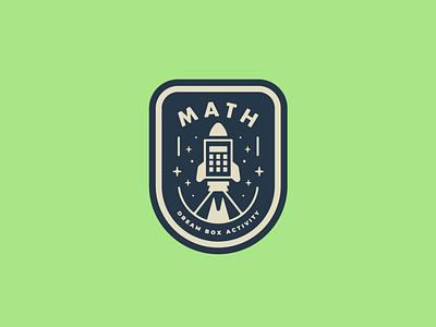 Rocket Math Badge icon elementary school school math rocket simple badge illustration