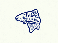 Fly Fishing Badge - 1 custom pattern fly branding lettering simple illustration rainbow trout trout badge fishing fly fishing