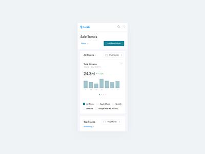 DashGo App statistics mobile design web app track trends sales company publishing music app music service product app