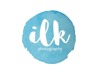 Ilk Photography blue watercolor photography wedding design logo