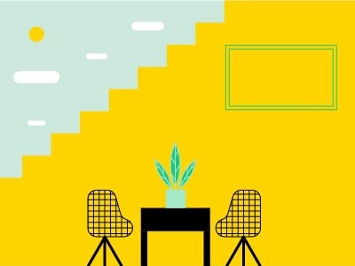 Come! architecture space indoor chair design plant illustration infographic