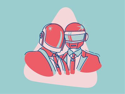 Daft Punk vector illustration illustrator french touch music portrait graphic design artwork daft punk