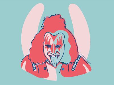 Kiss metal vector illustrator portrait illustration music graphic design artwork portrait gene simmons kiss