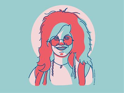 Janis Joplin illustration illustrator woodstock singer music vector graphicdesign portrait artwork janis joplin