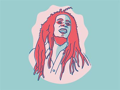 Bob Marley jamaica vector singer raggae music illustration illustrator graphic design artwork bob marley