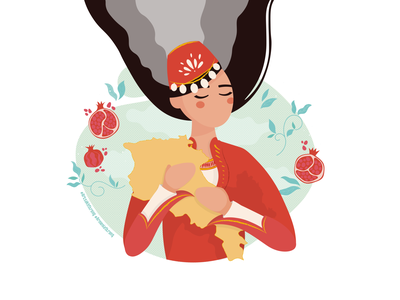 Armenian girl national taraz pomegranate armenian girl symbolic artsakh armenia dribbble illustration shadow drawing vector design