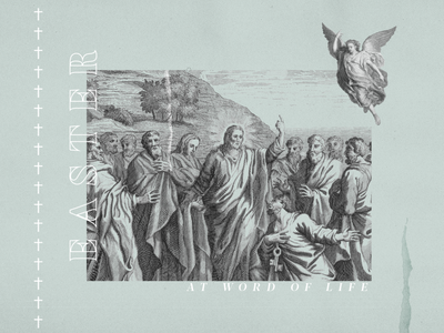 Easter at Word of Life illustrator line texture pastel sunday peter jesus angel word of life resurrection sunday resurrection good friday easter sunday lithograph graphic design sermon illustration church easter