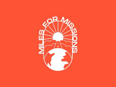 Miles For Missions icon badges minimalism minimal miles typography branding design design branding logos badge logo design church heaven earth sun clouds missions marathon logo