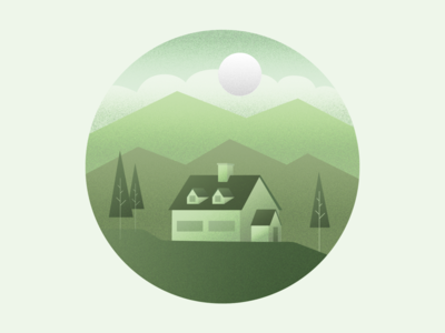 In The Woods stipple sun trees cabin clouds hills mountains house illustrator monochrome gradient texture vector illustration