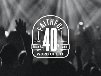 Word Of Life 40 Year Celebration Logo brand design identity banner vector flat illustration mark typography graphic design word church worship branding 40th milestone celebration anniversary 40 years badge