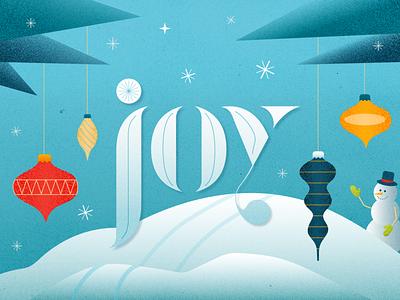 Joy holidays trees hills skiing star ornaments snowman winter christmas joy snowflake snow spot illustration sermon texture vector typography illustrator design illustration