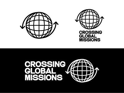 Crossing Missions Logo outreach brand identity brand arrows freelance vector earth sphere world globe logo design identity icon missions church logo branding typography design illustration