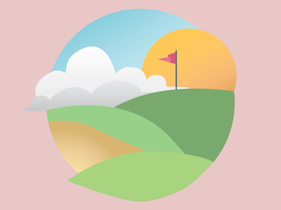 Teeing Off illustrator spot illustration circle greens golfing teeing sun clouds sand sandtrap flag green graphic design illustration golf