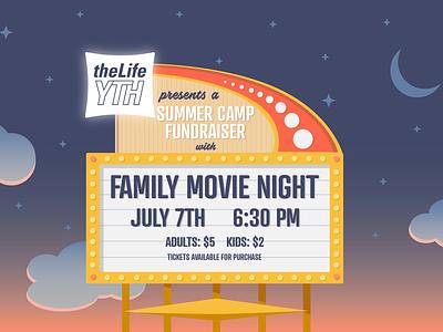 Family Movie Night advertisement stars sunset sky logo summer summer camp youth illustrator movie sign family movie night movies illustration