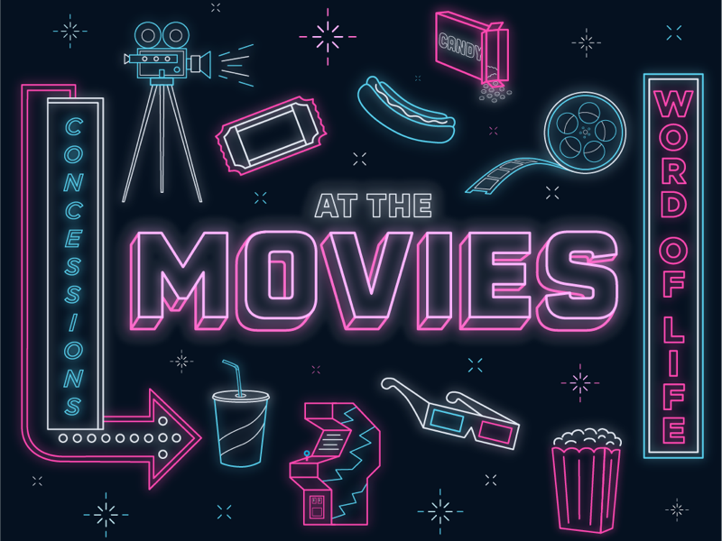 At The Movies film reel concessions neon candy hotdog 3d glasses signs sign games arcade 3d drink camera ticket cinema film popcorn design at the movies illustration